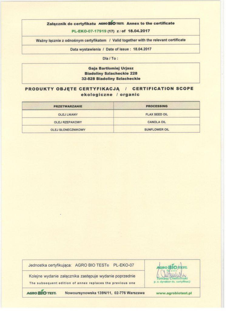 Certyfikat Len BIO 2